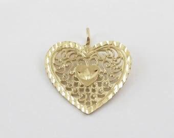 14k Yellow Gold Heart Charm Pendant - Valentines Heart Pendant
