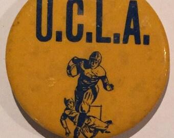 Vintage Circa 1940's UCLA - University of California Los Angeles Football Pin Pinback - Antique Bruins Football Memorabilia