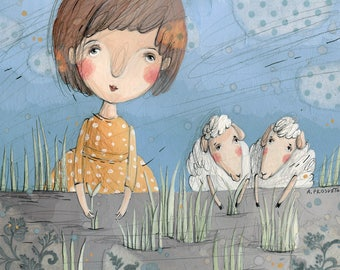Girl and White Sheep, Grass, Illustration, Blue and Yellow, Wall Art, Original Artwork