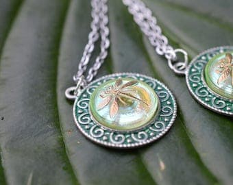 Czech Pressed Glass Dragonfly Pendant - Green
