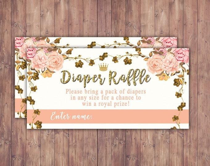 Diaper raffle, Princess Baby Shower, Princess Carriage Baby Shower, Pink Gold Glitter Princess Baby Shower Invite Carriage Invitation
