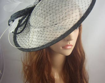 Black and Ivory Large Sinamay Saucer Fascinator and Net Detail - Wedding Races