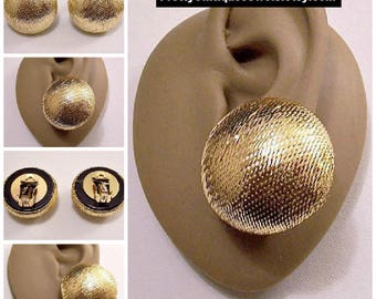 Big Glitter Buttons Clip On Earrings Gold Tone Vintage Fabric Cover Domed Round Large Shiny Reflective Ball Discs