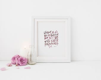 Hand Lettered Print | Blessed is She