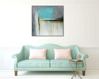 Original Abstract Yellow Gray Wall Art Large Abstract Painting On Canvas Modern Art Abstract Contemporary Art Blue Abstract Art, Christovart