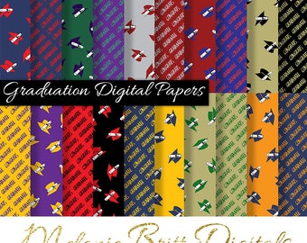 GRADUATION digital paper, high school, college, diploma, congratulations graduate, popular school colors, printable pdf, instant download