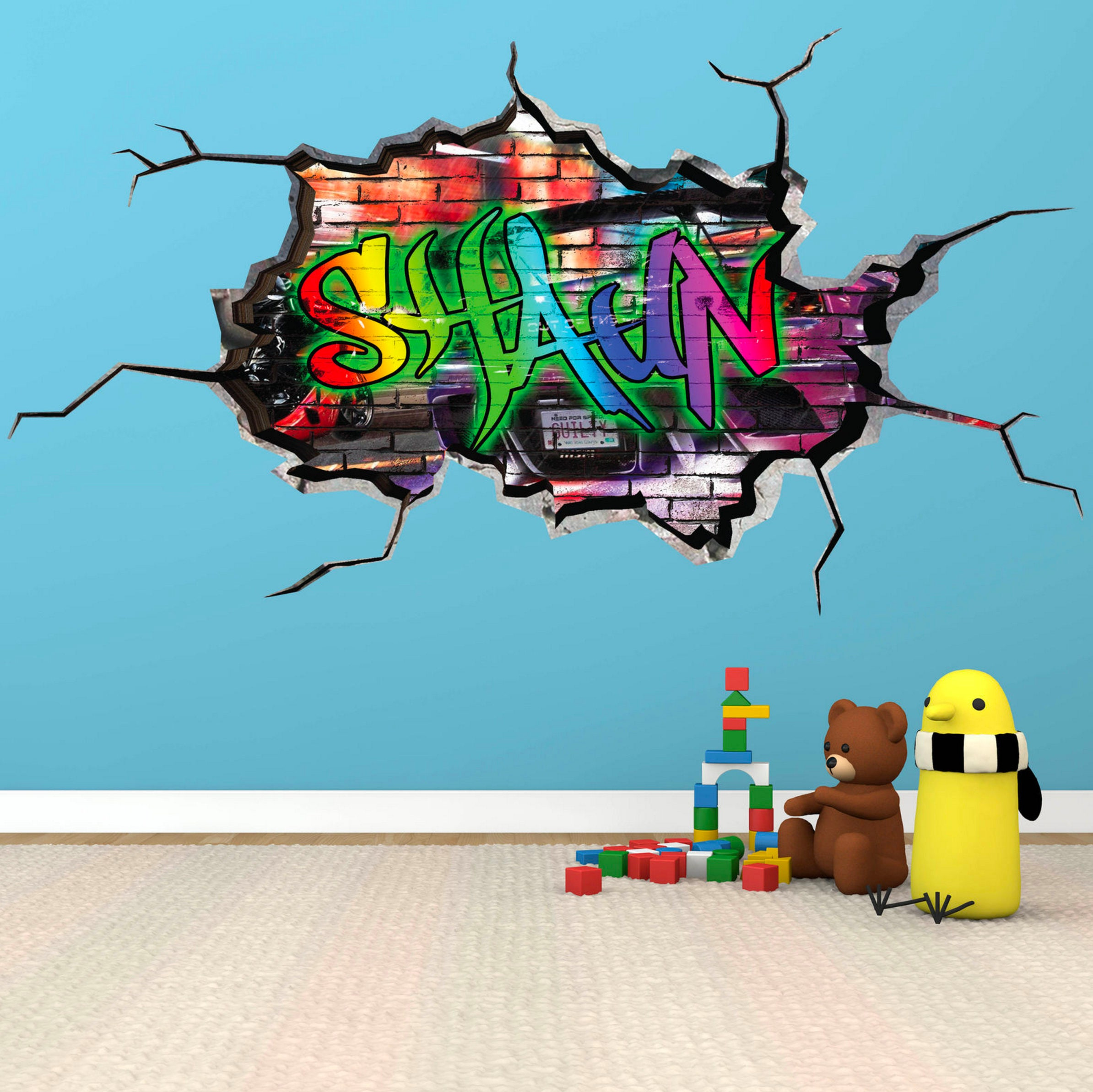 PERSONALISED NAME Custom Wall Decal Cracked Wall 3D Vinyl Wall Sticker  Urban Decal Boys Girls Mural Part 93