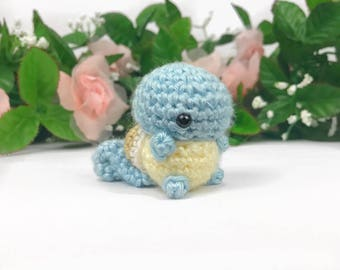 Squirtle Amigurumi - Squirtle Plush - Squirtle Pokemon - Pokemon Plush - Pokemon Amigurumi - Squirtle Keychain - Mini Squirtle