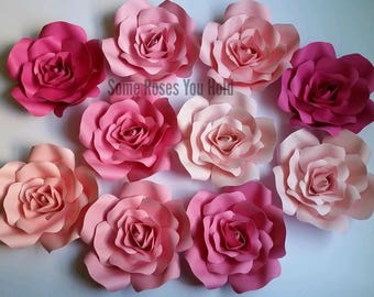 Pink Paper Flower Backdrop,10pc Paper Roses Set,Paper Flowers Wall Decor,Baby Shower Backdrop,Paper Roses,Party,Wedding,Nursery Wall Art