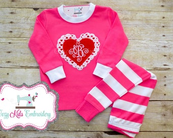 Valentine's Day pajamas, Valentine's Day Pj, heart pajamas, girl child kid baby toddler infant applique embroidery monogram name