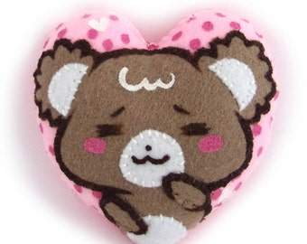 HEART Sugar Cubs handmade plushie keychain (facebook sticker)