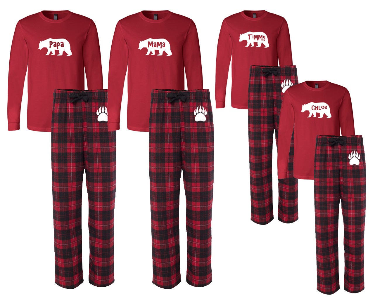Personalized Family Matching Flannel Christmas Pajamas Custom
