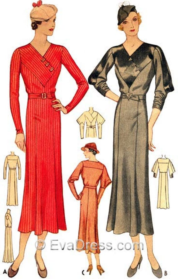 1930s Dresses, Clothing & Patterns Links 1933 Day Dress Pattern by EvaDress! $26.00 AT vintagedancer.com
