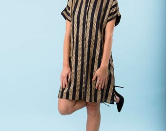 Golden stripes dress, black and gold, oversized dress, 100% cotton, party wear