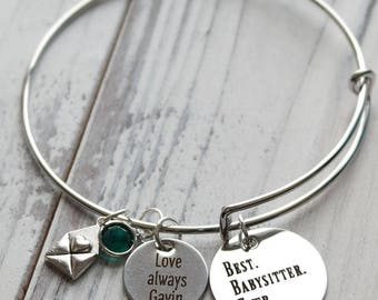 Best Babysitter Ever Personalized Adjustable Wire Bangle Bracelet