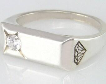 Signet ring, Gold Signet ring, White gold signet ring, Diamond signet ring, Signet ring women, Signet ring men