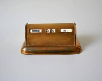 Vintage Perpetual Calendar / copper flip Desk Calendar 50s
