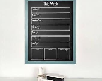 "Chalkboard Weekly Planner   Activity Planner   Chalk-Marker Compatible   Framed Chalkboard Planner   Weekly Meal Planner   13"" x 17"""