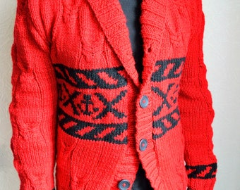 Hand knitted men's anchor cardigan