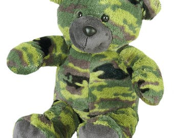"CAMOFLAUGED 16"" recordable talking teddy bear, personal teddy bear, recordable stuffed animal, military bear"
