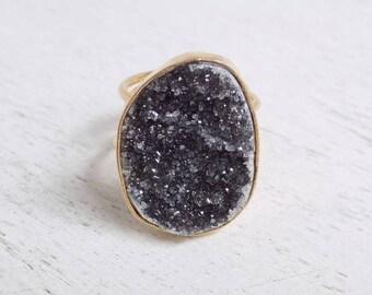 Gift For Her, Black Druzy Ring, Natural Druzy Ring, Crystal Ring, Large Gemstone Ring, Gold Stone Ring, Adjustable Ring Statement Ring G4-19