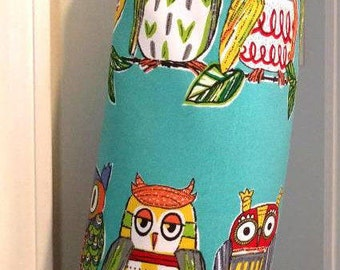 Grocery Plastic Bag or Rag Holder, Owl, Ornithology, Camper Decor Kitchen, RV Retirement Gift, Grocery Bag Holder, Graphic Print Fabric