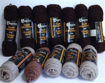 Hudson Bay Yarn Bundle, 12 Sk Brown Yarn, Vintage Hudson Bay Yarn, Vintage Baycrest Sayelle Worsted Yarn for Knitting or Fiber Art Project