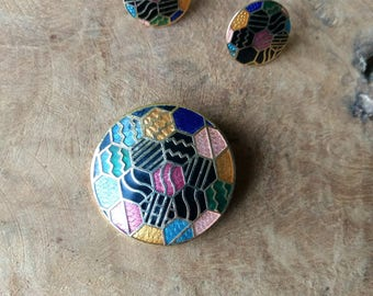 Geometric jewelry Set - Brooch and Earrings - Hexagon Pattern - One-of-a-kind Gift