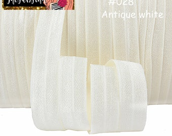 """5/8"""" inch Antique white, Ivory #028 FOE Fold Over Elastic - Solid Color - By the Yard- Shiny DIY For Headband"""