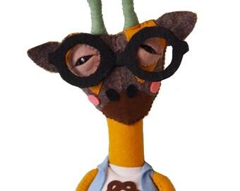 Jigah the Giraffe - handmade plush creature plushie toy - unique birthday gift