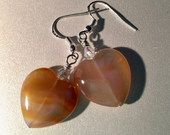 Heart shaped Agate stone. Large Heart Earrings,  Large Agate Earrings