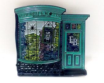 HPinstreet Diagon Alley FLOURISH & and BLOTTS enamel lapel PIN / pinstreet Harry Potter Magic Book Shop Hogwarts / BUNCEandBEAN