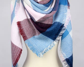 New Plaid Blanket Oversized Tartan Scarf Wrap Shawl Multi Color – Blue Light Pink