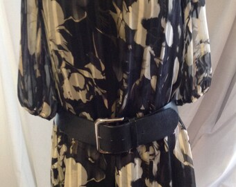 Vintage 1995 tunic/dress silky/women/sleeves/gray sheer elbow/straight / tone polyester surTon/Small/lining/medium