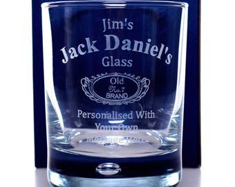 Engraved/Personalised *NEW* JACK DANIELS Glass Tumbler Gift For Girls/Boys/Men/Ladies/Women/Birthday/Christmas/Dad/Grandad
