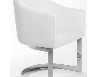 white chair for vanity. Bright White  Slate Grey PU Leather Half Mooned Winged Makeup Vanity Chair chair Etsy