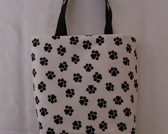 Fabric Gift Bag/ Party Favor Bag/ Goody Bag- Paw Prints on White