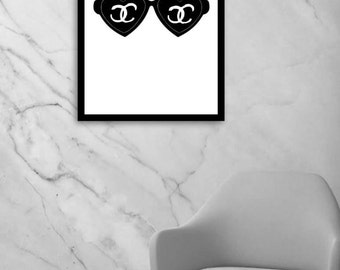 Chanel print, Chanel sunglasses illustration, Chanel inspired, Coco Chanel, Chanel poster, fashion wall art, instant download, digital file
