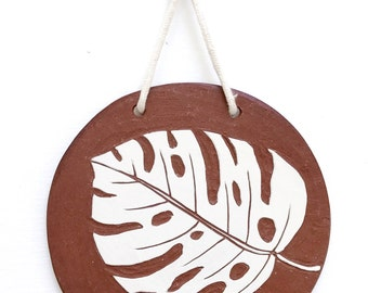 One Of A Kind Ceramic Wall Medallion / Monstera Leaf / Botanical Art / Ceramic Wall Art / Carved Jungle Art / Nature Art / READY TO SHIP