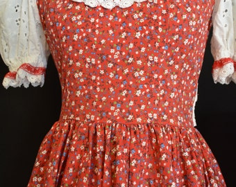 Retro Red Floral,White Lace,Prairie Dress,Ruffled,Floral,Twirl Skirt,Pin Up,Western,Rodeo,Cowgirl,Vintage Gingham,Rockabilly,Square Dancing
