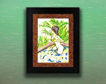 """Ferns"" Erotic Pop Art Drawing [6.5x7.3"" in 8x10"" frame]"