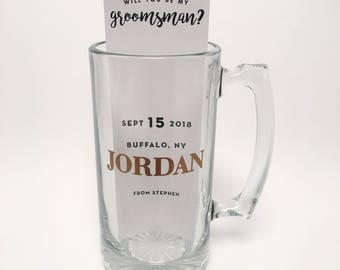 Personalized 25oz Large Beer Mug + Groomsmen Proposal Card, Groomsman Proposal, Groomsman Gift, Beer Mug