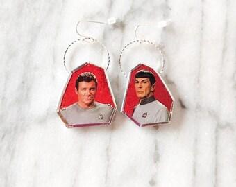Star Trek Kirk and Spock Upcycled '79 Trading Card Earrings