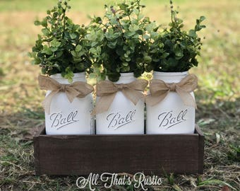 Rustic Planter Box with Jars, Mason Jar Centerpiece, Eucalyptus Greenery, Farmhouse Decor, Table Centerpiece, Mason Jar Decor, Centerpiece
