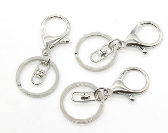 5 Silver Key Chain Rings with Large Lobster Clasp Swivel Clasps