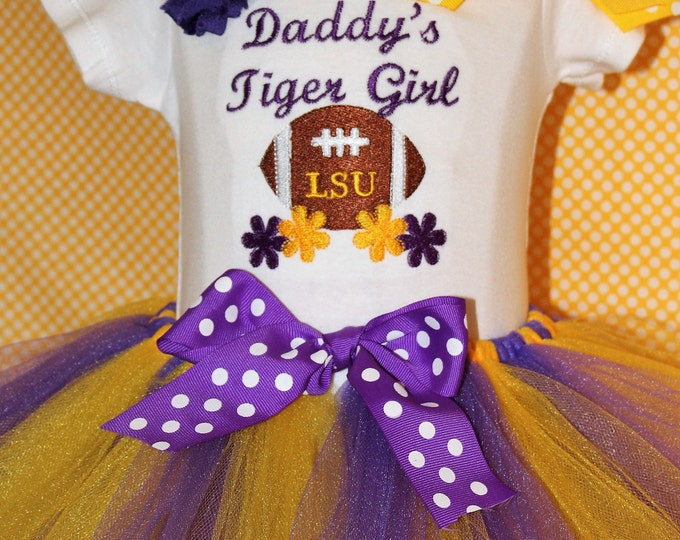Louisiana State University,LSU baby girl bodysuit,LSU football,Purple and gold,Tiger football,Baby shower gift,Tiger girl,Daddy's Tiger girl