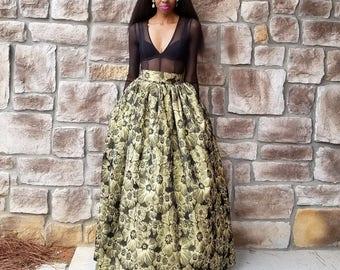 Soft Brocade Gold Metallic Ball Skirt (XS-6XL) Split or No Split
