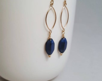 Blue Bead/Gold Filled Dangle Earrings