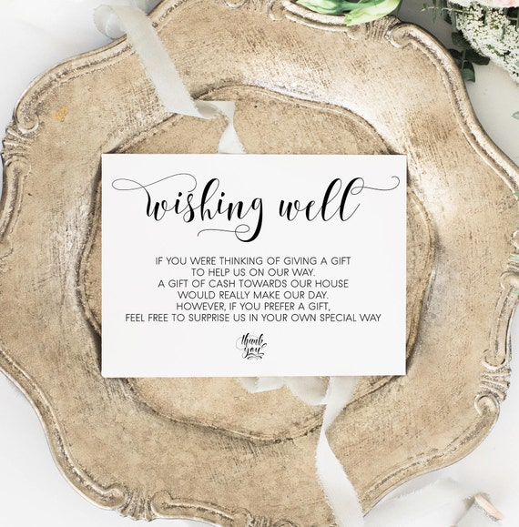 Wishing Well Card Gift Registry Wedding Insert Printable Poem In Lieu Of Instant Download