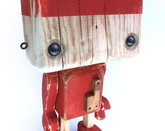 Recycled wooden robot - the two-tone wood and brick red - wood on the heart